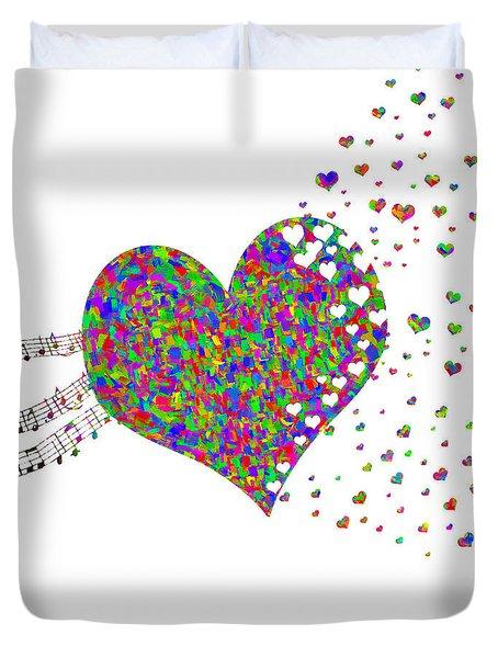 Music Fuels Love Rainbow Colors Duvet Cover