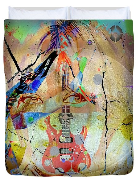 Duvet Cover featuring the digital art Music Girl by Eleni Mac Synodinos