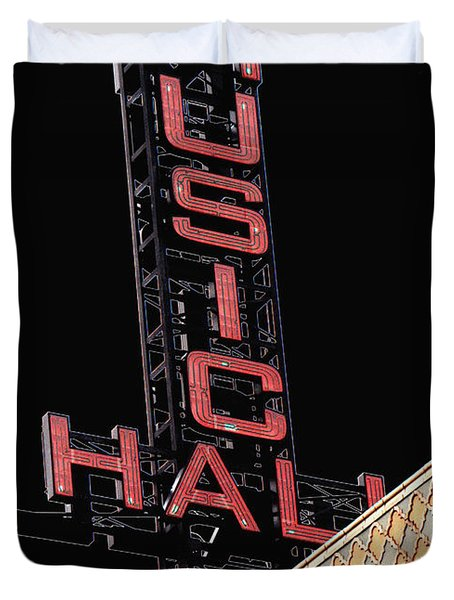 Music Hall Sign Duvet Cover