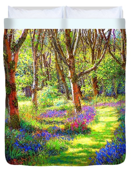 Duvet Cover featuring the painting Music Of Light, Bluebell Woods by Jane Small