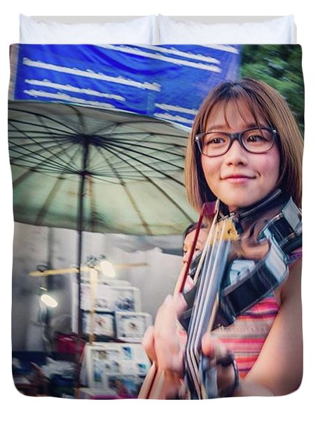 Music On The Streets, Chiang Mai Duvet Cover