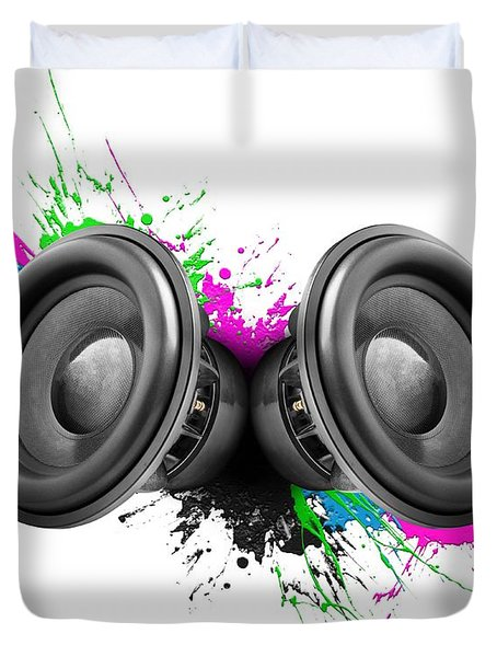 Music Speakers Colorful Design Duvet Cover