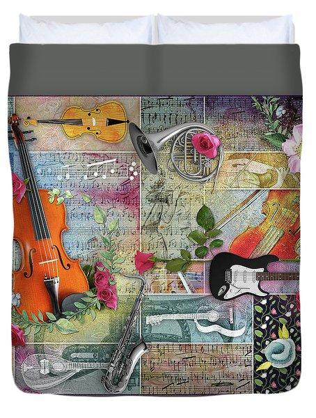 Musical Garden Collage Duvet Cover