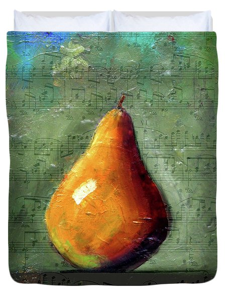 Musical Pear Duvet Cover by Nancy Merkle