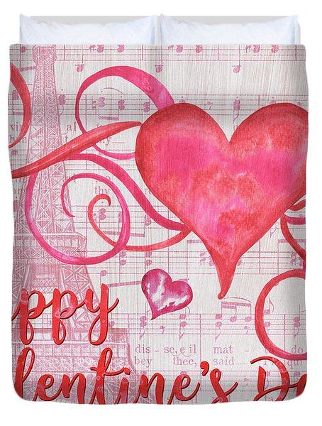 Musical Valentine Duvet Cover by Debbie DeWitt