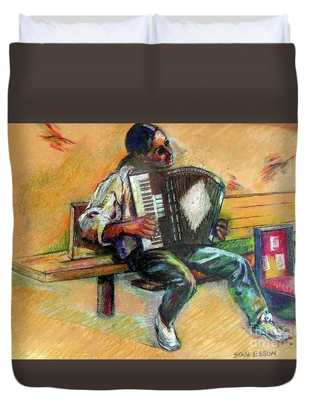 Musician With Accordion Duvet Cover by Stan Esson