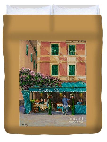 Musicians' Stroll In Portofino Duvet Cover by Charlotte Blanchard