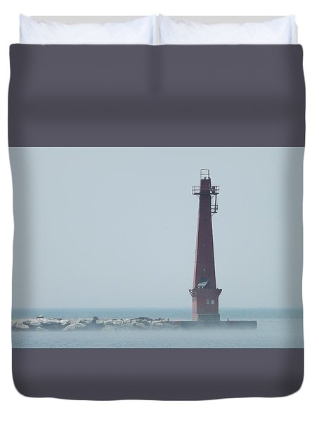 Muskegon South Pierhead Duvet Cover