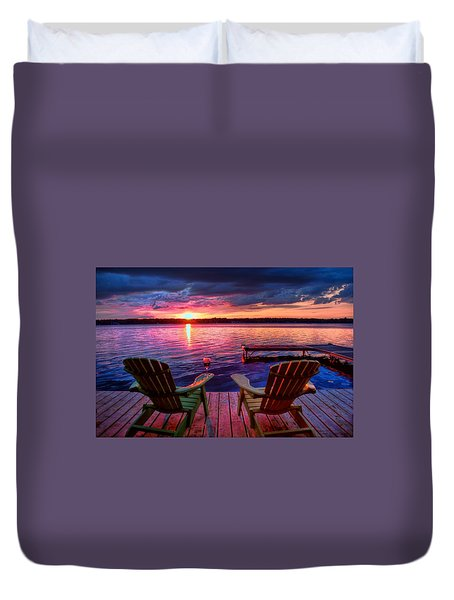 Muskoka Chair Sunset Duvet Cover