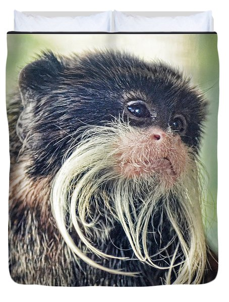 Mustache Monkey Watching His Friends At Play Duvet Cover