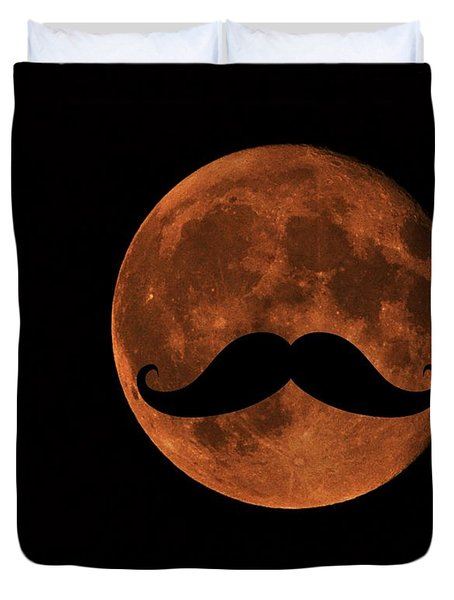 Mustache Moon Duvet Cover