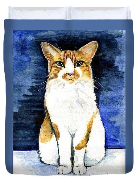 Mustached Bicolor Beauty - Cat Portrait Duvet Cover