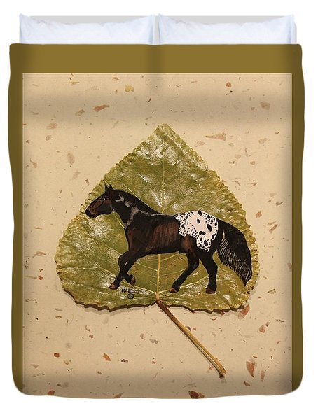 Mustang Appaloosa On Poplar Leaf Duvet Cover by Ralph Root