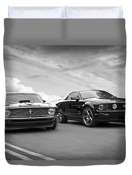 Mustang Buddies In Black And White Duvet Cover