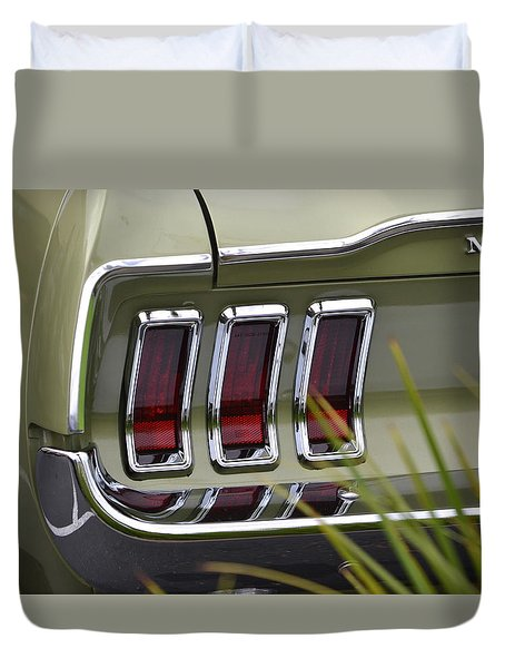 Mustang Fastback In Green Duvet Cover by Dean Ferreira