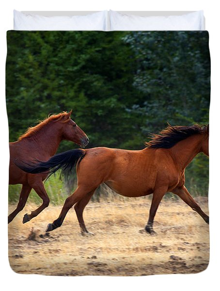 Mustang Gallop Duvet Cover by Mike  Dawson