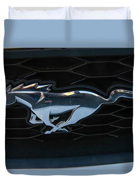 Duvet Cover featuring the photograph Mustang Grill by Robert Hebert