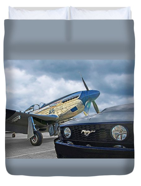 Mustang Gt With P51 Duvet Cover