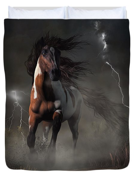 Mustang Horse In A Storm Duvet Cover