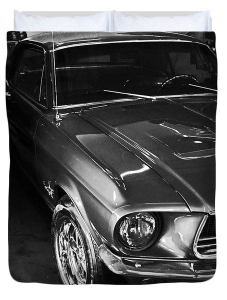 Mustang In Black And White Duvet Cover