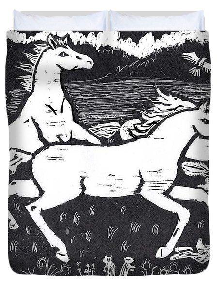 Mustangs Frisking On The High Plains Duvet Cover by Dawn Senior-Trask