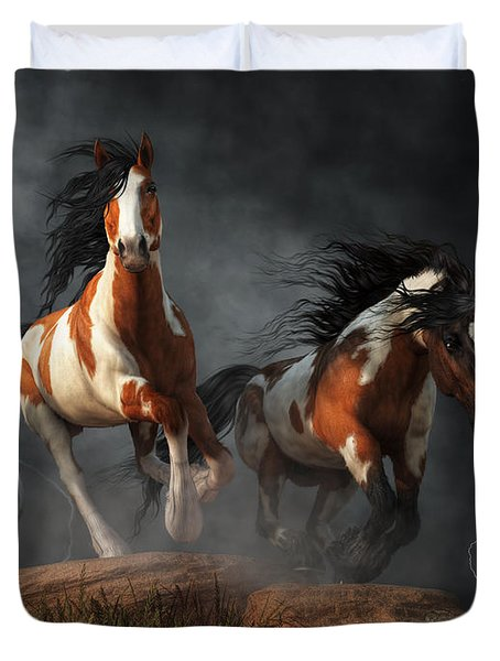 Mustangs Of The Storm Duvet Cover by Daniel Eskridge