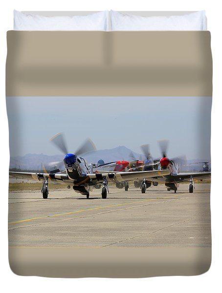 Mustangs Taxi For Takeoff At Hollister Duvet Cover