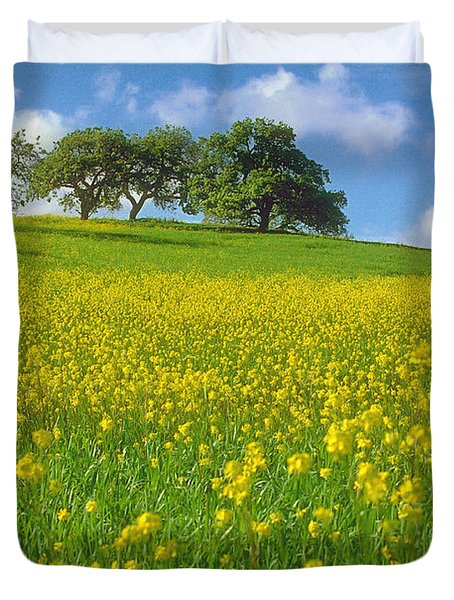 Duvet Cover featuring the photograph Mustard Field by Mark Greenberg