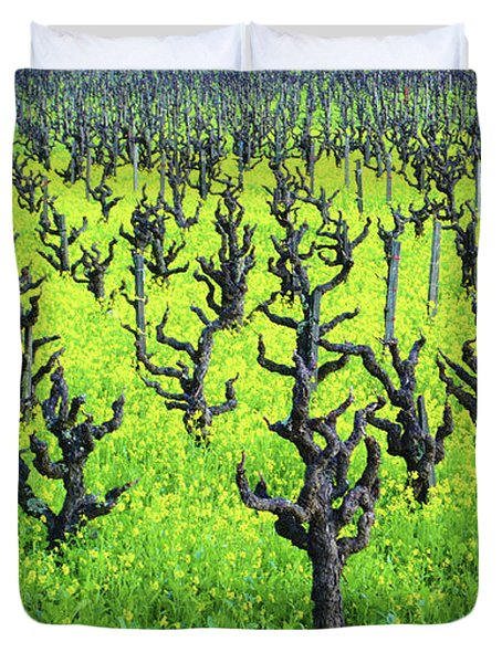 Mustard Flowers In The Vineyards Duvet Cover