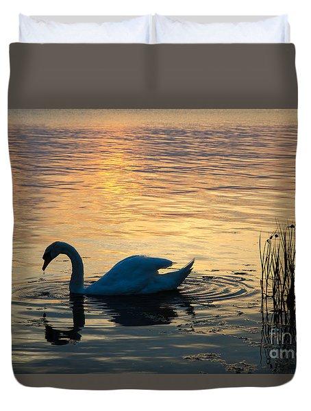 Mute Swan At Sunset Duvet Cover