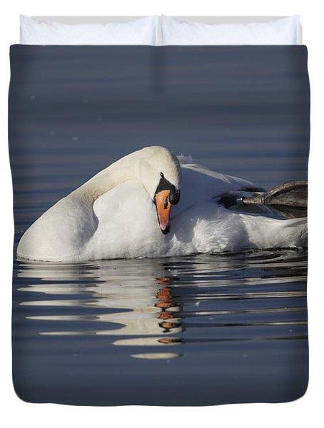 Mute Swan Resting In Rippling Water Duvet Cover