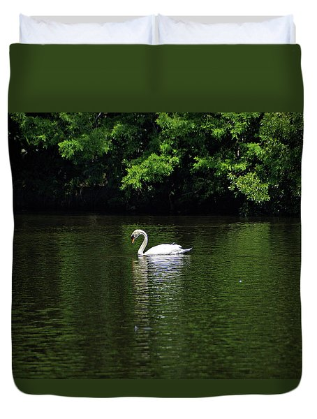 Duvet Cover featuring the photograph Mute Swan by Sandy Keeton