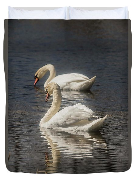 Duvet Cover featuring the photograph Mute Swans by David Bearden