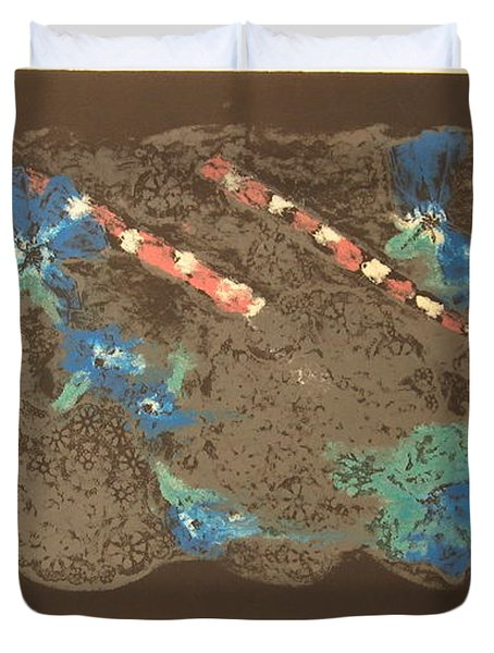 Duvet Cover featuring the mixed media Muted by Erika Chamberlin