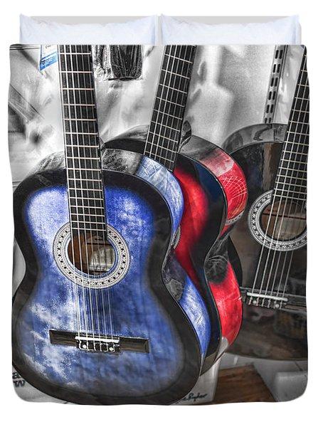 Muted Guitars Duvet Cover