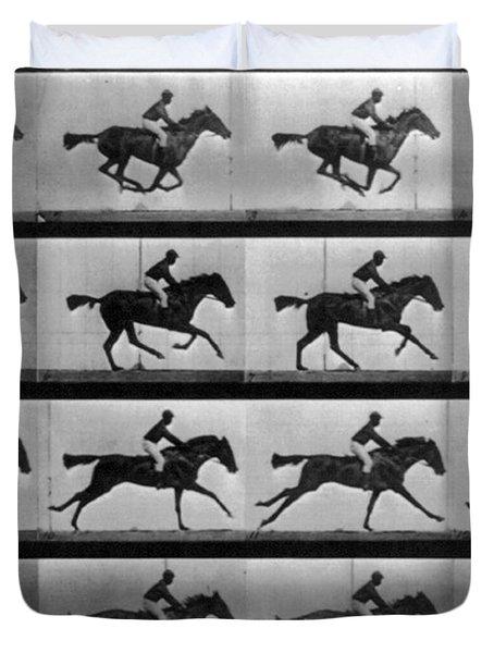 Muybridge Locomotion Racehorse Duvet Cover by Photo Researchers