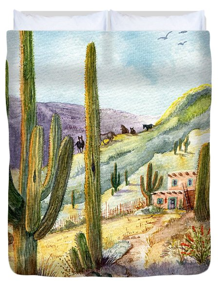 Duvet Cover featuring the painting My Adobe Hacienda by Marilyn Smith