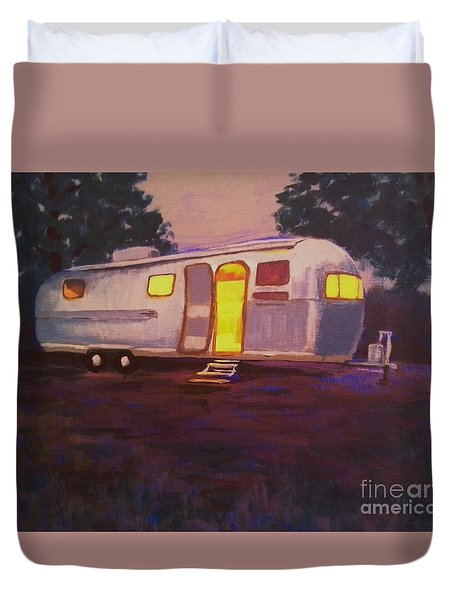Duvet Cover featuring the painting My Airstream Dream II by Suzanne McKay