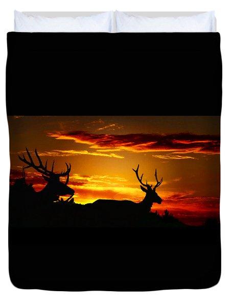 Elk Sunset Duvet Cover