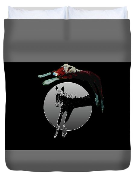 Horseplay-black And White-selective Color Duvet Cover