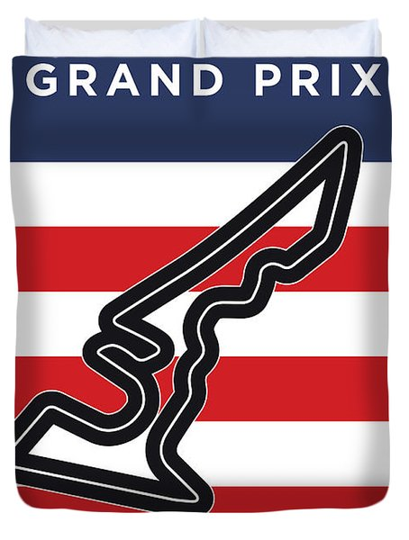 My Austin Usa Grand Prix Minimal Poster Duvet Cover
