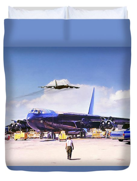 Duvet Cover featuring the digital art My Baby B-52 by Peter Chilelli