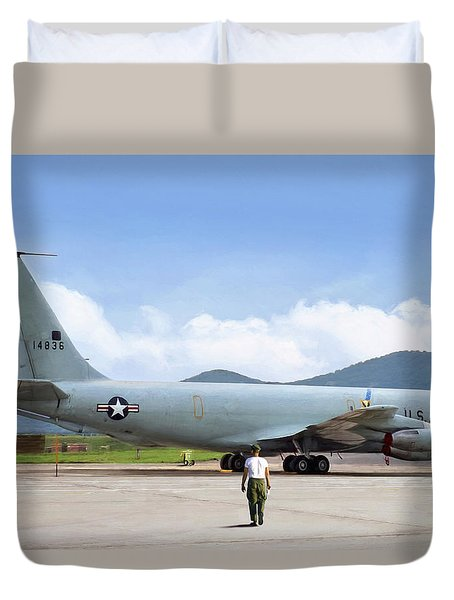 Duvet Cover featuring the digital art My Baby Kc-135 by Peter Chilelli
