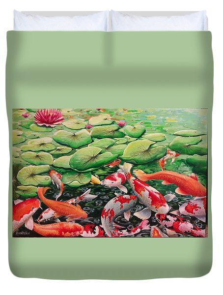 My Backyard Pond Duvet Cover