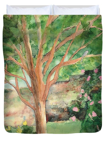 Duvet Cover featuring the painting My Backyard by Vicki  Housel