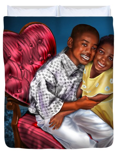 My Big Brother-my Little Sister1 Duvet Cover by Reggie Duffie