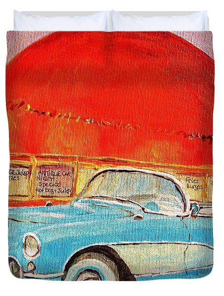 My Blue Corvette At The Orange Julep Duvet Cover by Carole Spandau