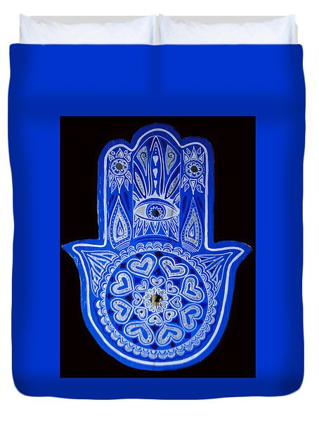 Duvet Cover featuring the painting My Blue Hamsa by Patricia Arroyo