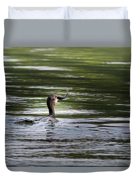 Duvet Cover featuring the photograph Cormorant - My Catch For The Day by Ramabhadran Thirupattur