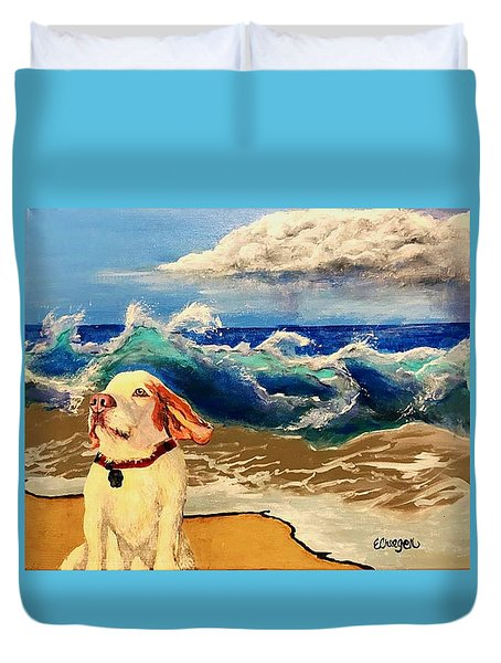 My Dog And The Sea #1 - Beagle Duvet Cover